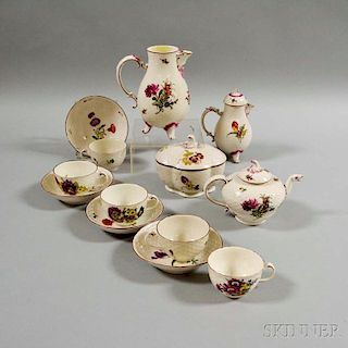 Thirteen-piece Ludwigsburg Porcelain Partial Tea Set