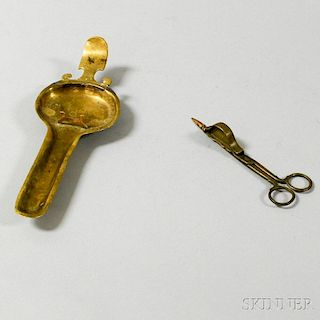 Brass Candle Snuffer and Tray