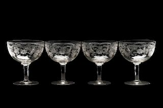 Set of 4 Large Needle Etched Crystal Coupes