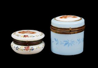 2 Continental Painted Opalescent Glass Boxes