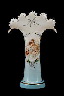 Bohemian White & Blue Enameled Glass Vase
