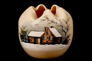 Victorian Hand Painted Rose Bowl w/Winter Scene