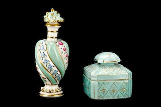 Two Continental Porcelain Vanity Table Articles