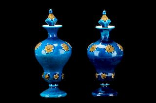 Pair of Continental Porcelain Blue Glazed Bottles