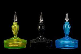 Set of 3 Fostoria Boxtle Perfume Combo Powder Jars