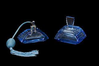Czech Blue Glass Perfume Bottle & Dresser Box