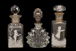 Three Bohemian Glass Perfume Bottles