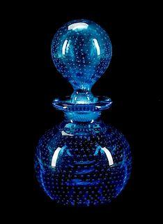 Czech Blue Bubble Glass Perfume Scent Bottle