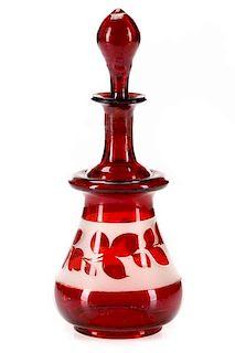 Bohemian Blown Cranberry Glass Scent Bottle