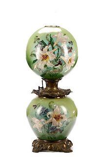 Bradley and Hubbard GWTW Banquet Art Glass Lamp