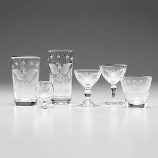 Glassware with Etched Eagle Decoration