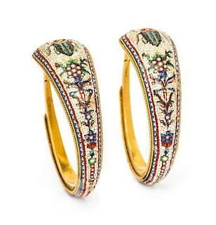 * A Pair of Egyptian Revival Yellow Gold Micromosaic Hoop Earrings, French, 10.00 dwts.