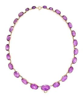 A Victorian Rose Gold and Amethyst Graduated Necklace, 18.00 dwts.