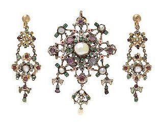 * A Renaissance Revival Gilt Silver, Pearl, Emerald, Pink Sapphires and Polychrome Enamel Demi Parure, Austro-Hungarian, 29.8