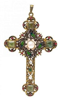 * A Gilt Silver, Polychrome Enamel, Emerald, Pearl and Paste Cross Pendant, Austro-Hungarian, 26.20 dwts.