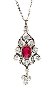A Fine Silver Topped Gold, Burmese Red Spinel and Diamond Pendant, 11.20 dwts.
