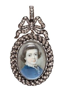 * A Georgian Gold, Silver, Diamond and Portrait Miniature Pendant, Circa 1770, 28.50 dwts.