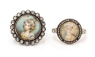A Collection of Georgian Portrait Miniature and Diamond Rings, 7.50 dwts.