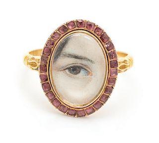 A Georgian Gold and Garnet Lover's Eye Ring, 2.70 dwts.