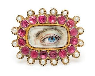 A Georgian Yellow Gold, Pink Gemstone and Seed Pearl Lover's Eye Brooch, 4.10 dwts.