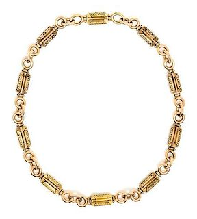 An Etruscan Revival Bicolor Gold Chain Necklace, 26.70 dwts.
