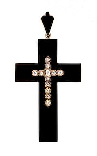 A Victorian Rose Gold, Onyx, Diamond and Enamel Mourning Cross Pendant, 21.50 dwts.