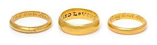 A Collection of 18th Century Yellow Gold Posy Rings, 9.80 dwts.