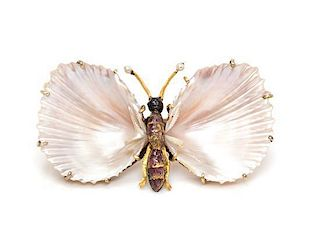 * A Gold, Enamel, Pearl and Seashell Butterfly Brooch, Federico and Ferdinando Giuliano, Circa 1890, 7.20 dwts.