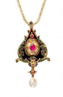 * A Fine Renaissance Revival Gold, Silver, Multi Gem and Polychrome Enamel Pendant, Augusto Castellani, Circa 1860, 26.40 dwt