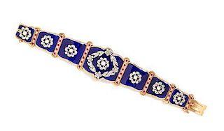 * A Rose Gold, Diamond, Ruby, Pearl and Enamel Bracelet, 39.10 dwts.