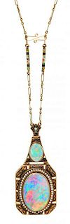 An Art Nouveau Yellow Gold, Opal, Seed Pearl, and Polychrome Enamel Necklace, 19.00 dwts.