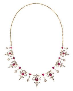 A Yellow Gold, Ruby and Diamond Fringe Necklace, Circa 1900, 14.40 dwts.