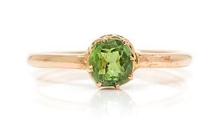 A Rose Gold and Demantoid Garnet Ring, 1.60 dwts.