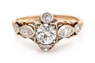 A Platinum Topped Gold and Diamond Ring, 1.70 dwts.