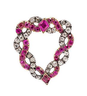 A Georgian Silver, Gold, Ruby and Diamond Witch's Heart Clip Brooch, 6.40 dwts.
