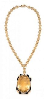 A Yellow Gold, Citrine Cameo, Seed Pearl and Enamel Necklace, 33.40 dwts.