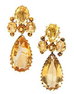 * A Pair of Yellow Gold and Citrine Pendant Earclips, 5.70 dwts.