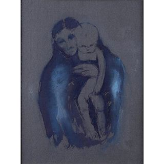"19/20th Century European School Ink and Gouache On Gray Paper ""Mother With Child"" Bears initials EM (Edvard Munch??)"