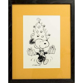 Charles Schulz (1922-2000) Ink Drawing