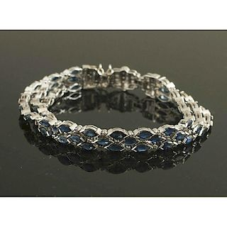 Sapphire & Diamond 14k White Gold Bracelet