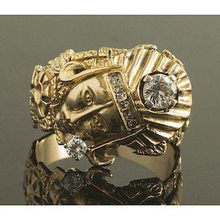 14k Gold & Diamond Figural Ring