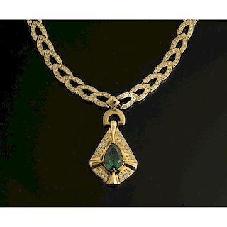 Teal Topaz 14k Gold Necklace