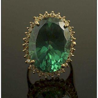 Teal Topaz Diamond Gold Ring