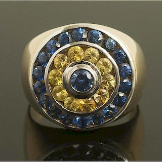 Yellow & Blue Sapphire Gold Ring