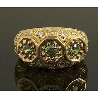 Demantoid Garnet Diamond Gold Ring