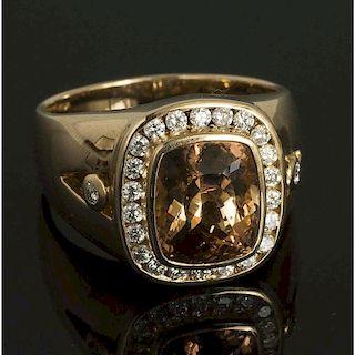 Topaz Diamond Gold RIng