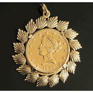 1897 Liberty Head $10 Gold Coin With 14K Bezel
