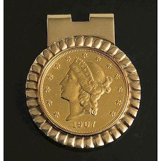 1907 Liberty Head $20 Gold Coin Money Clip