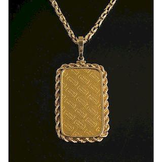 Swiss Gold Bar Pendant & Chain