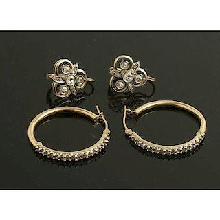 Two Pairs Diamond Earrings